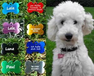 Hundemarke Tiermarke aus Aluminium. individuelle Gravur Anhänger kl. Knochen