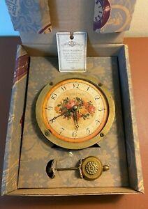 Timeworks EMILYS GARDEN Floral Wall Clock Pendulum Original Box Provence France