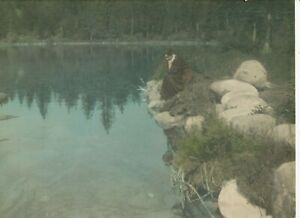 M1841  large 10X 13  HAND COLORED PHOTOGRAPH MOUNTAIN LAKE AND LADY ARTIST SIGN