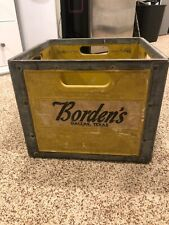 Vintage Bordens Dallas Texas Milk Bottle Crate Galvanized Metal Container