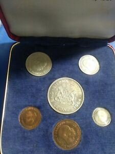 1964 SIERRA LEONE'S FIRST NATIONAL CURRENCY 5 COIN SET UNC W/ CASE
