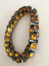 Vintage Yellow Orange Crystals  Silver Metal Bracelet Bangle