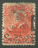 CANADA #46 USED SMALL QUEEN SQUARED CIRCLE CANCEL