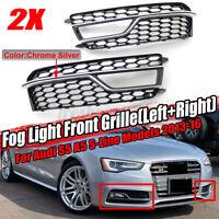 Black Fog Light Grilles Grill w/ Chrome Trim For Audi S5 A5 S-Line 2013-2016