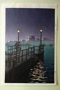 Hasui KAWASE Otaru Wharf Japanese Woodblock Print 1933