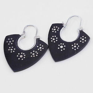 Vintage sterling 925 silver handmade earrings with black wood and flower dots