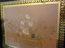rare tableau broderie soie corbeille mariage signé hoeth lyon 1837 eglomise or