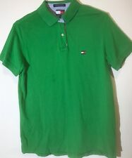 TOMMY HILFIGER Green Solid Polo Shirt Sz. Large Pique 100% Cotton