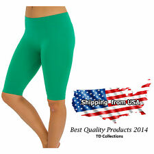 SEAMLESS BASIC SOLID TIGHT ATHLETIC SPANDEX BERMUDA ABOVE KNEE