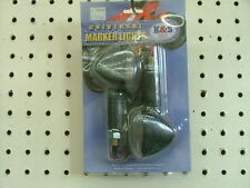 MARKER LIGHT SET (3 WIRE) CARBON LOOK w clear lens  short stalk
