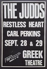 The JUDDS/Carl Perkins ORIGINAL Boxing Style Concert Poster 1989 Country Music