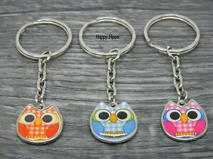 Owl Charm Glass Plated Keyring Assorted Choice Of Colours Birthday Gift