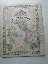 "1884 S. AUGUSTUS MITCHELL ATLAS MAP of WESTERN HEMISPHERE & ""A TIME TABLE"""