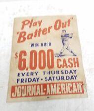 VTG 1940 /50's American Journal newspaper baseball advertising contest poster ad