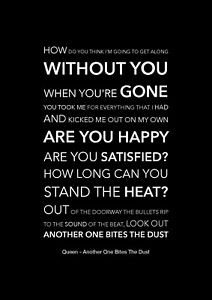 Queen - Another One Bites The Dust - Black Song Lyric Art Poster - A4