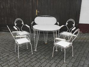 DDR Garten Eisdiele Möbel Sitzbank Bank Stuhl Stühle Tisch shabby Metallgestell