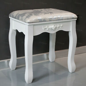 Wood Dressing Table Stool Silver Cushioned Seat Flower Makeup Bench Piano Chair