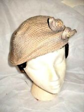 """VINTAGE BEIGE KNIT HAT """"NEEDLEPOINT BY EVERITT"""" Tabs With Faux Pearls Woman's"""