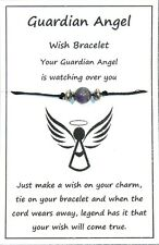 2 x Wish String Bracelet or Anklet - Guardian Angel - Amethyst Gemstone W020