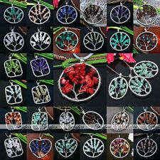 Silver Wire Tree Of Life Natural Chips Gemstone Bead Pendant For Necklace
