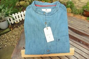 Soft Denim Collarless Shirt buttoning all the way down the front. 2 sizes left