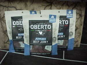 3 Packs Oberto All Natural Peppered Beef Jerky 9.75oz 3.25 oz each PROTEIN SNACK