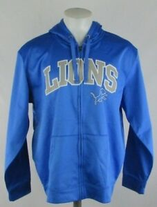 Detroit Lions Men's NFL Majestic Full Zip Blue Long Sleeve Hoodie