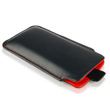 Leder Etui für APPLE iPhone Xs / XR Tasche Case Hülle schwarz / rot