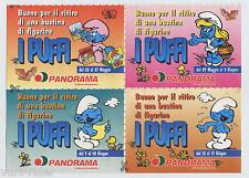PANORAMA Schtroumpf Smurf Schlumpf PUFFI 4 buoni per bustine stickers 2000
