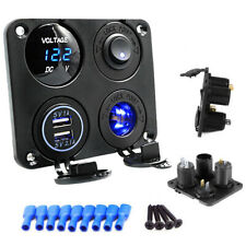 12V Car Boat switch panel Cigarette Lighter Socket 3.1A USB Charger Voltmeter W6