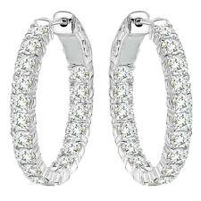 3 Ct Round White Diamond Hoop Huggie Eternity In &Out 14K WG Earring ASAAR