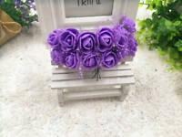 Rose en mousse tulle violet fleur artificielle.décoration mariage baptême 144pcs
