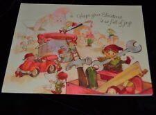 Vintage Hallmark ELFIES Christmas Card SANTA'S WORKSHOP TOY BAG WRENCH HAMMER