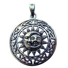 Plata Esterlina (925) Sol y la Luna con Celta Círculo Colgante!!! Nuevo!!!