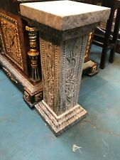 Green Marble Pedestal w/ Carving