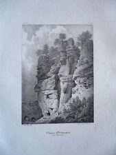 CHATEAU D'OCHSENSTEIN   ALSACE GRAVURE ORIGINALE 1870 HAUT RHIN