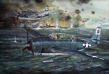 HUGE ORIGINAL WW2 MILITARY AVIATION ART PAINTING TBM AVENGERS VS YAMOTO WWII