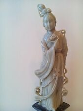 ANTIQUE 19th C CHINESE HAND CARVED STONE FIGURINE STATUE WOMEN
