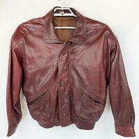 Vtg BALLY Of Switzerland Mens Made In Italy Red Brown Soft Leather Jacket Sz 43