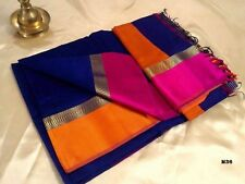 Maheshwari Handloom Traditional Indian Saree Cotton Silk Designer Party Sari M36