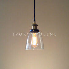 LUCY Glass Pendant Industrial Filament Light Brass Fittings Hanging Canopy NEW