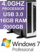 4.0Ghz NEW WINDOWS 7 Pro 64bit 16GB DDR3 RAM 2000GB HDD 2TB USB 3.0 DVDRW ICON