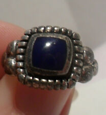 Vintage Antique Estate~Blue Inlay 925 Sterling Silver Ornate Detail Ring Sz 6.75