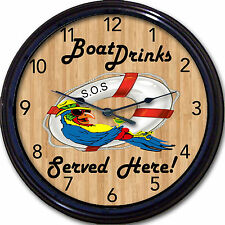 Buffett Margaritaville Boat Drinks Served Here Wall Clock Parrot Cocktail Beer
