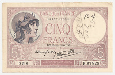 1940 Bank of France 5 Francs.....Military Bank Note