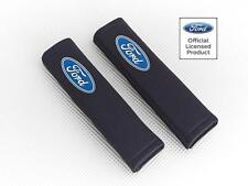 Ford Kuga Car Seatbelt Pads Covers Black Fabric With Logo Pair By Richbrook