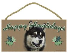 Alaskan Malamute Happy Howlidays Santa Wood Funny Christmas Dog Sign Plaque Usa