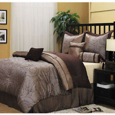 Brown King Size Embroidered Comforter Set w/ Bed Skirt Shams Decorative Pillows