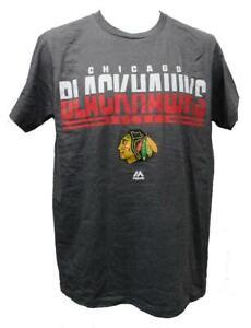 New Chicago Blackhawks Mens Sizes M-L-2XL Gray Majestic Shirt