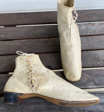 Rare Gorgeous Victorian 1840s-60s White Kid Leather Booties Boots Shoes Wedding